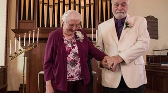 Former high school sweethearts, Annette Adkins and Bob Harvey celebrate thier wedding after 60 years apart.