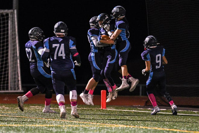 Garfield at Waldwick/Midland Park high school football game on Friday October 10, 2019. Waldwick celebrates a touchdown.