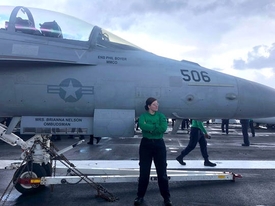 U.S. Navy Aviation Structural Mechanic Petty Officer 2nd Class Sienna Ryan is currently deployed on the USS Ronald Reagan. She will begin classes at New Mexico State University in fall 2020.