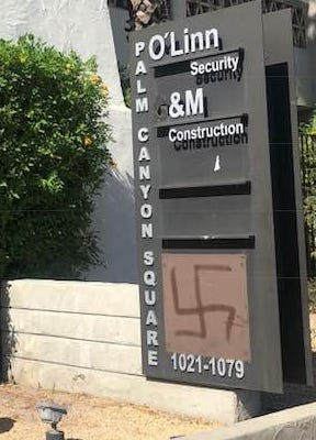 Palm Springs police responded Saturday morning to reports of a swastika drawn outside the office of Weinstein and Associates.
