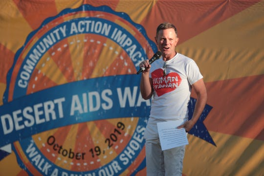 Desert AIDS Project CEO David Brinkman speaks prior to the start of the Desert AIDS Walk at Ruth Hardy Park in Palm Springs, Calif., on Saturday, October 19, 2019.