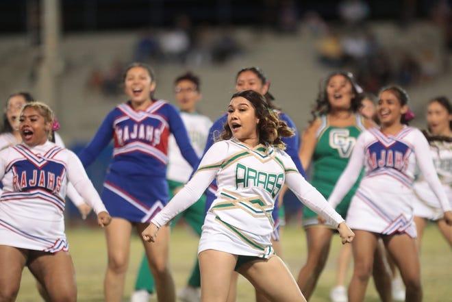 Coachella Valley and Indio cheerleaders perform in Indio, Calif., on Friday, October 18, 2019.