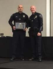 Alfredo Luna receives an award from the Cathedral City Police Department in 2017.