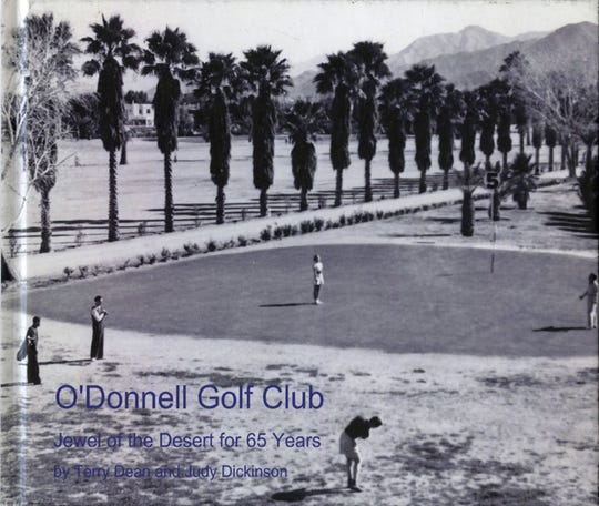 Promenade of palm trees along Tom O'Donnell's driveway through his front yard golf course in the 1930s.