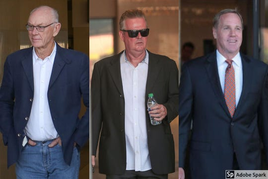 Palm Springs corruption suspects, from left: , developer John Wessman, developer Richard Meaney, former mayor Steve Pougnet.