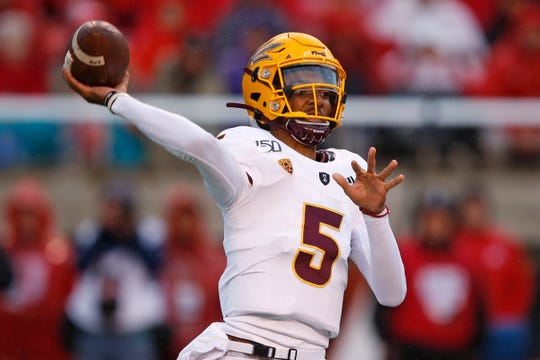 Arizona State quarterback Jayden Daniels throws a pass during the first half of an NCAA college football game against Utah on Saturday, Oct. 19, 2019, in Salt Lake City.