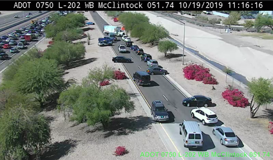 Arizona Department of Public Safety troopers turning around wrong-way drivers on the Loop 202 westbound on-ramp at McClintock Road.