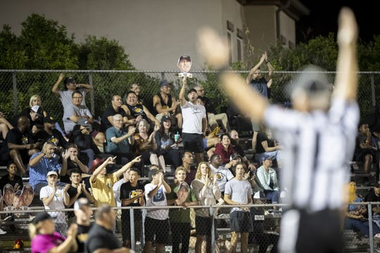 Saguaro fans cheer during the game against the Marcos de Niza Padres at Marcos De Niza High School on Friday, October 18, 2019 in Tempe, Arizona. #azhsfb