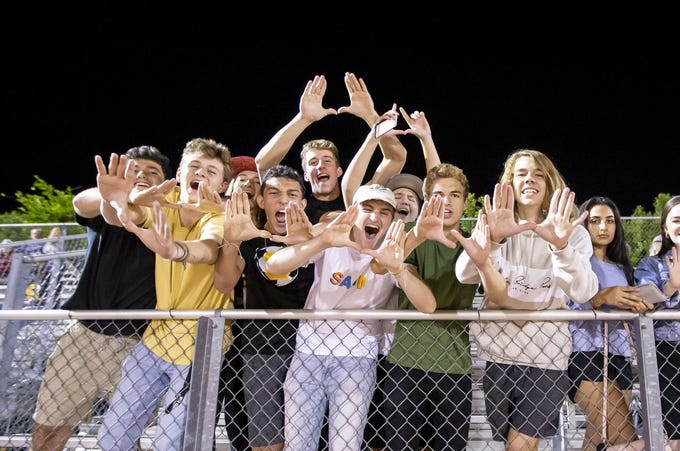 Saguaro fans during the game against the Marcos de Niza Padres at Marcos de Niza High School on Friday, October 18, 2019 in Tempe, Arizona. #azhsfb