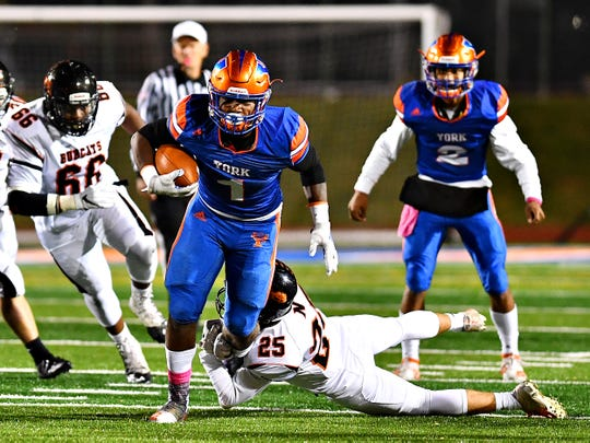 York High junior running back Tyrell Whitt had 103 rushing yards and two touchdowns against Northeastern.