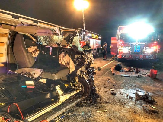 What's left of a U-Haul van after rescue crews had to extract a passenger from it Thursday, Oct. 17, 2019.