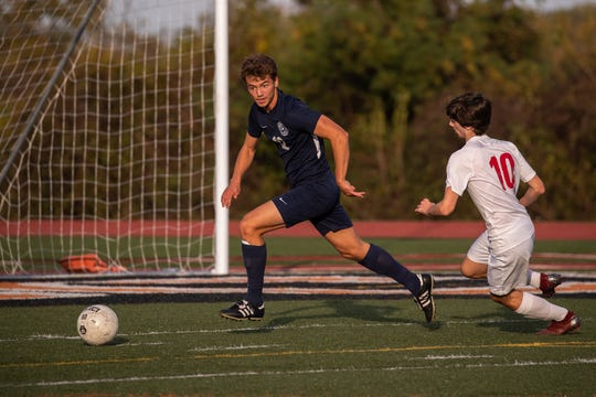 Dallastown's Mitchell Groh (12) runs the ball during the YAIAA Boys Soccer final between Dallastown and Susquehannock, Saturday, Oct. 19, 2019, at Northeastern High School. The Dallastown Wildcats won 1-0 over the Susquehannock Warriors.