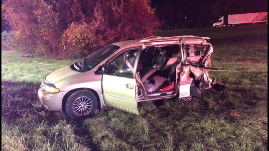 One of three vehicles involved in a crash on I-83 northbound in York County on Thursday, Oct. 17, 2019.