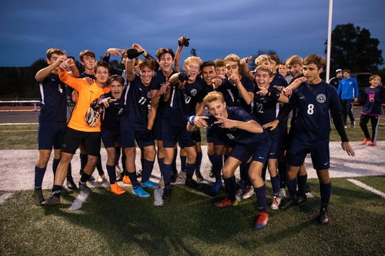 Dallastown Wildcats celebrate after winning the YAIAA Boys Soccer final against Susquehannock, Saturday, Oct. 19, 2019, at Northeastern High School. The Dallastown Wildcats won 1-0 over the Susquehannock Warriors.