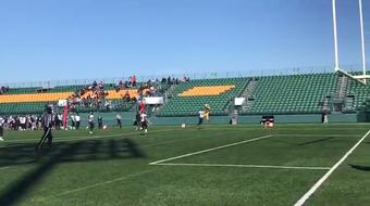 Freshman Jamari Johnson finds fellow freshman Mahki Connor for a touchdown pass to give Uprep a 50-0 lead over Bishop Kearney/Rochester Prep.