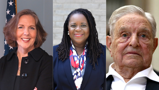 Sandra Doorley, Shani Curry Mitchell and George Soros