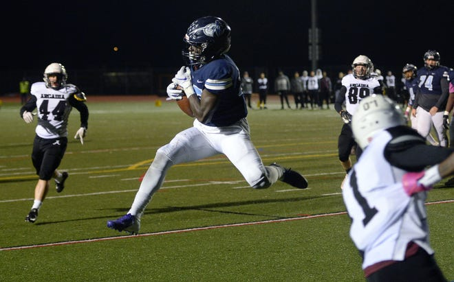 Eastridge senior Matthew Brantley, here catching a pass during the  high school season, was among a group of 108 football players and cheerleaders who received recognition at the 18th annual Rochester Chapter of the National Football Foundation & College Football Hall of Fame scholar-athlete awards banquet.