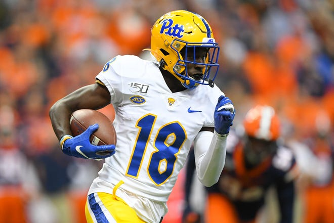 Pittsburgh Panthers wide receiver Shocky Jacques-Louis (18) runs with the ball against the Syracuse Orange during the second quarter at the Carrier Dome.