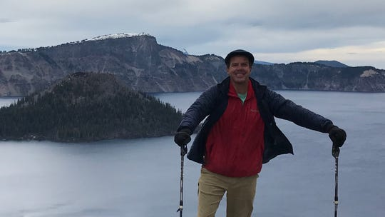 Robb Campbell at Crater Lake in Oregon, on his journey hiking the Pacific Crest Trail. Courtesy of Robert Campbell