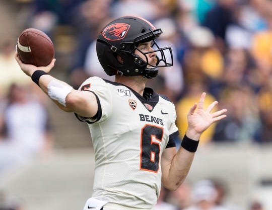Oregon State quarterback Jake Luton (6) passes against the California in the second quarter of an NCAA college football game in Berkeley, Calif., Saturday, October 19, 2019.