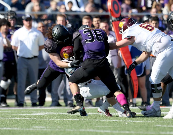 Tucker Stout (36) of USF and Gio Purpura led a defensive effort by the Cougars that held UMD to 133 total yards.