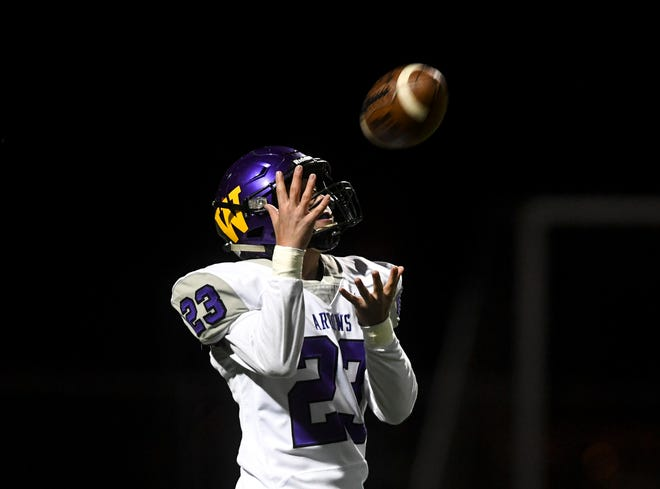 Watertown wide receiver and defensive back Devin Miles (23) receives the ball during the game against Roosevelt on Friday, Oct. 18, 2019 at Howard Wood Field.