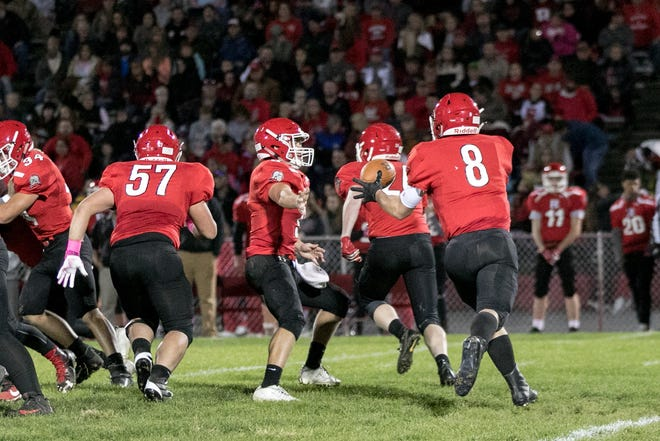 Riverheads' Zac Smiley (8) finished with 181 yards rushing in a win over Fort Defiance.