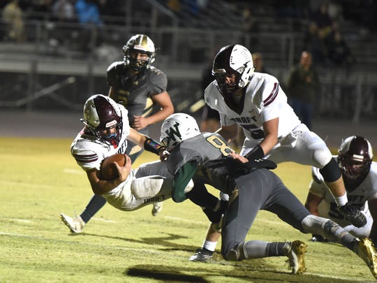 Stuarts Draft's Blake Roach scores a touchdown late in Friday's win over Wilson Memorial.