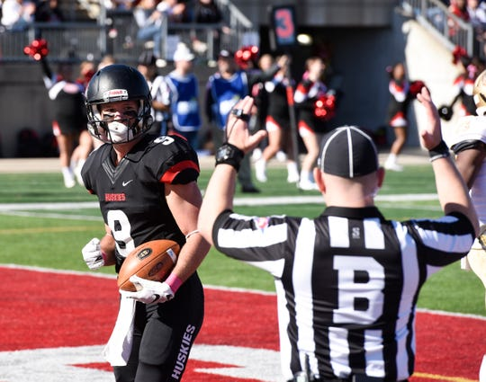 St. Cloud State senior John Solberg scores a touchdown in the second quarter against Southwest Minnesota State Saturday, Oct. 19, 2019, at Husky Stadium.
