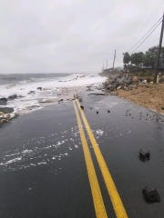 "Alligator Point Roiad in Franklin County, Florida has been ""washed out"" by Tropical Storm Nestor."