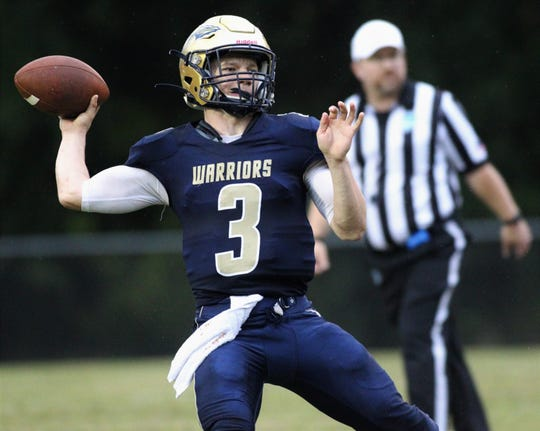 Aucilla Christian junior quarterback Brady Browning throws a pass as the Warriors improved to 8-0 by beating Jacksonville's Joshua Christian 41-6 on Friday, Oct. 18, 2019.