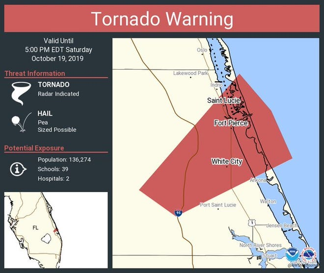 A tornado warning was issued for St. Lucie County on Saturday, Oct. 19, 2019.