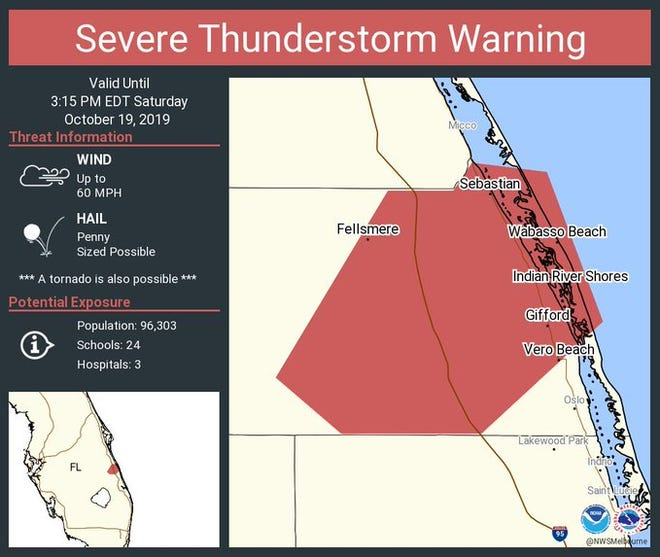 A severe thunderstorm warning was issued for Indian River County on the afternoon of Saturday, Oct. 19, 2019.