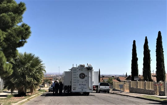 An El Paso Police Department Mobile Command Unit is set up along the 3800 block of Truman Avenue in El Paso on Saturday, Oct. 19, 2019, after a shooting left 1 dead and three wounded.