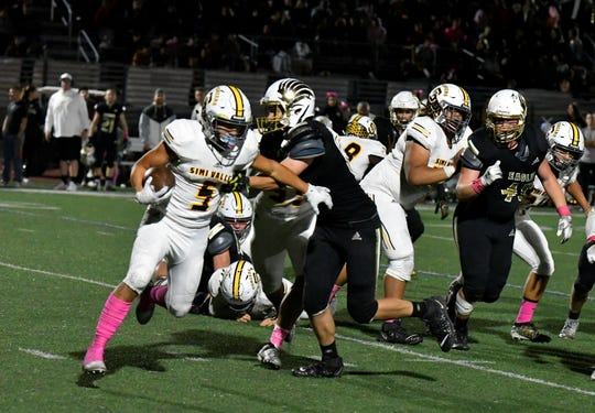Elijah Leiva ran for 1,778 yards and 19 touchdowns on 167 carries for Simi Valley. He will suit up for the East team in the Ventura County All-Star Football Game on Saturday.
