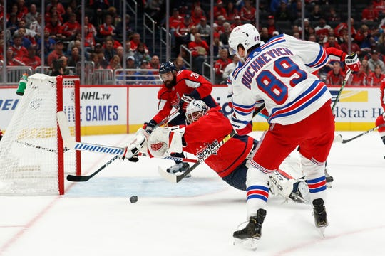 Oct 18, 2019; Washington, DC, USA; New York Rangers left wing Pavel Buchnevich (89) scores a goal on Washington Capitals goaltender Braden Holtby (70) in the first period at Capital One Arena. Mandatory Credit: Geoff Burke-USA TODAY Sports