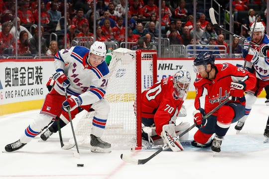 Oct 18, 2019; Washington, DC, USA; New York Rangers right wing Kaapo Kakko (24) skates with the puck behind Washington Capitals goaltender Braden Holtby (70) in the first period at Capital One Arena. Mandatory Credit: Geoff Burke-USA TODAY Sports