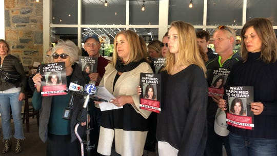 Meg Morrissey Heinicke shares an update with the media regarding the death of her sister, Susan Ledyard. Family and friends gathered Saturday morning on the patio of the Brandywine Brewing Company in Greenville.
