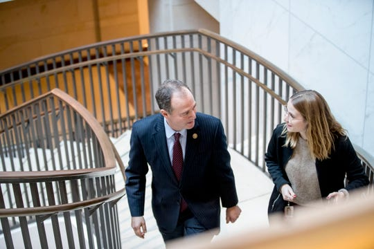 House Intelligence Committee Chairman Rep. Adam Schiff, of Calif., leaves a closed door meeting where Michael McKinley, a former top aide to Secretary of State Mike Pompeo, testifies as part of the House impeachment inquiry into President Donald Trump, on Capitol Hill in Washington, Wednesday, Oct. 16, 2019. (AP Photo/Andrew Harnik)