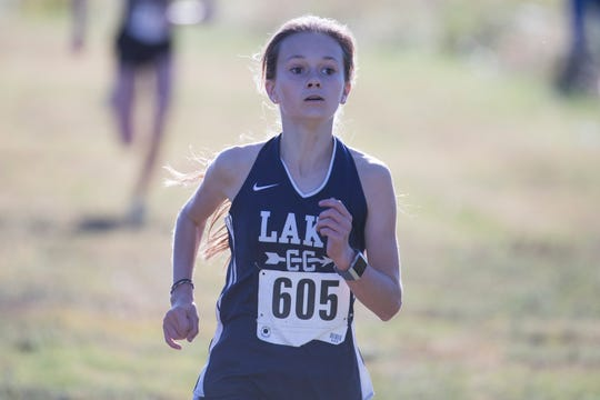 Lake Forest's Josephine Ledford, shown here at the Joe O'Neill Invitational on Oct. 18, won the girls race at the Henlopen Conference meet last week and will be a contender for the Division II girls title at the DIAA meet on Saturday.