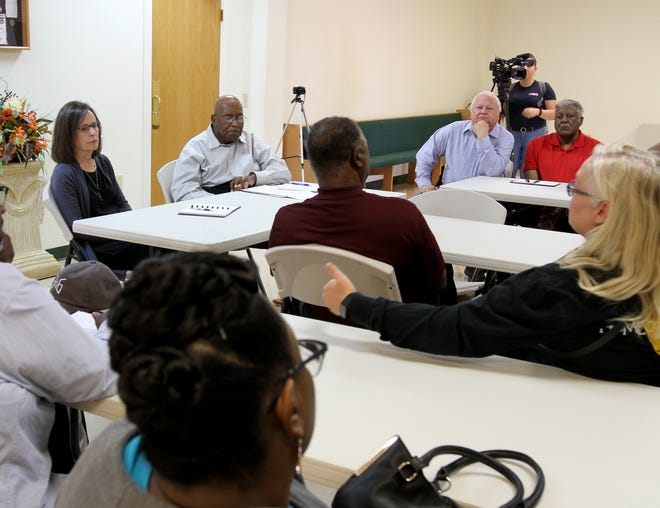 People Invested in the Equity of Reallocating ourSchools discuss issues with the WFISD and the two high school plan Saturday, Oct. 19, 2019, at New Jerusalem Baptist Church.