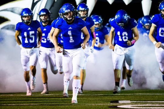 The Gunter Tigers take the field against City View on Oct. 18, 2019.
