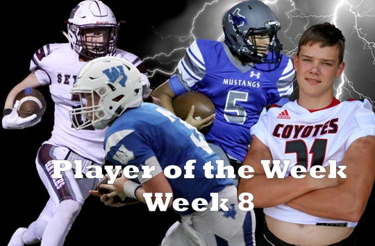 Nominees for Player of the Week are Seymour's Nick Slaggle, Windthorst's Cy Blecher, City View's Isaiah Marks, Wichita Falls High's Ryan Murdock and Quanah's Landin Leija (not pictured).