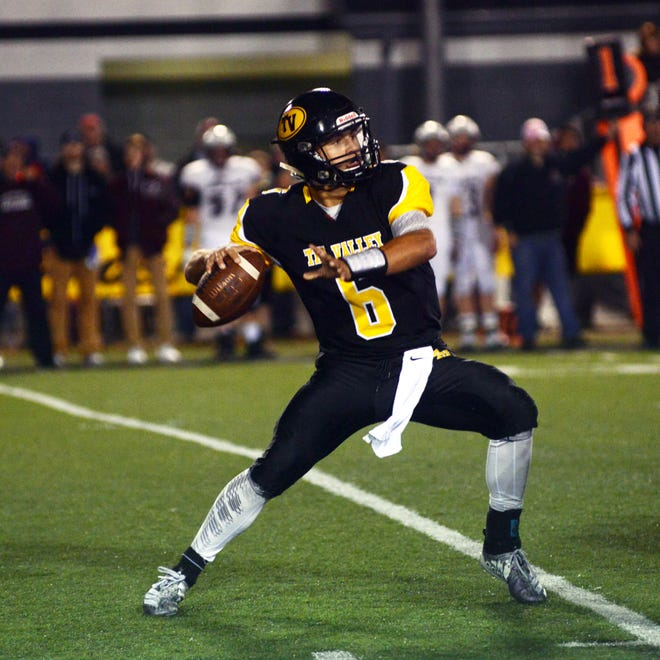 Tri-Valley quarterback Aidan Fritter throws a pass against John Glenn last season. Fritter is one of several returning starters for first-year head coach Cam West, as the Scotties prepare to compete for the MVL Large School Division title.