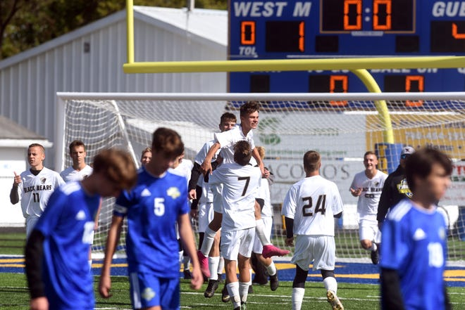 River View players celebrate following a 4-1 win against West Muskingum on Saturday in a Division II sectional final in Falls Township.