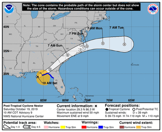 Strong winds and storm surge threatened the Florida Panhandle Saturday as Tropical Storm Nestor began to move inland along the coast.