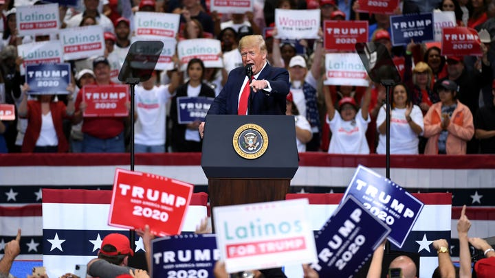President Donald Trump speaks during a campaign rally, Thursday, Oct. 17, 2019, at the American Airlines Center in Dallas. (AP Photo/Jeffrey McWhorter) ORG XMIT: TXJM123