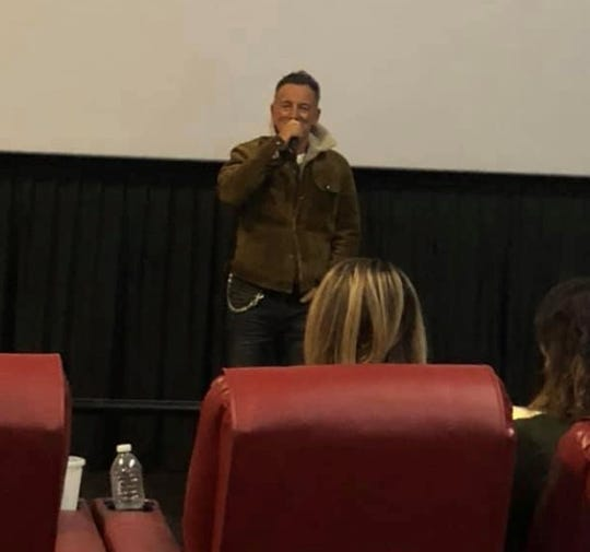 "Bruce Springsteen surprises audience at the AMC Loews Freehold Metroplex Cinema during ""Western Stars"" screening."