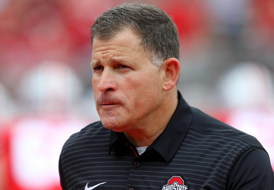 Sep 16, 2017; Columbus, OH, USA; Ohio State Buckeyes defensive coordinator Greg Schiano before the game against the Army Black Knights at Ohio Stadium. The Buckeyes won the game 38-7. Mandatory Credit: Joe Maiorana-USA TODAY Sports