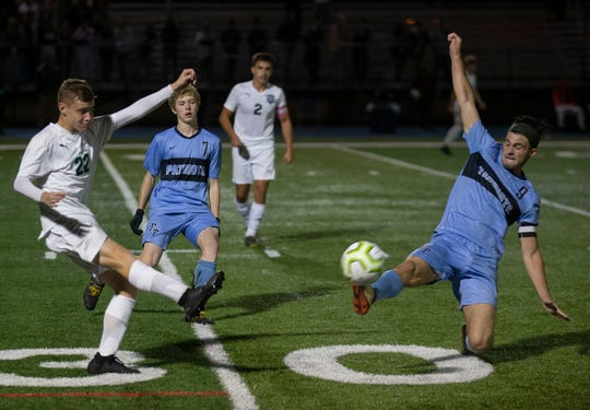 Colts Neck Boys Soccer vs Freehold Township in Shore Conference Tournament Semifinal game in West Long Branch NJ on October 19, 2019.
